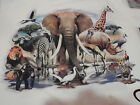 SAFARI MIX ELEPHANT GIRAFFE #3 ANIMALS WILDLIFE QUILT PILLOW FABRIC PANELS 14X14