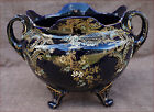 French Large Jardiniere Centerpiece Dark Blue Gold Enamel Faience Gien 1880