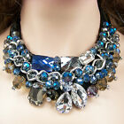 vintage antique style jewellery blue grey glass crystal lace collar bib necklace