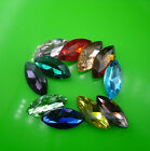 13X27mm horse eye shape Glass crystal Color Faceted Glass Jewels silver bottom