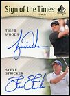 Tiger Woods Steve Stricker Dual Auto 2014 SP Authentic Sign of the Times