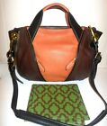 NEW orYANY Soft Pebbled Leather Color-Block Lian Satchel SADDLE Multi-Color
