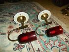 Vintage Brass Burgandy Glass Mid-Century WALL SCONCE Light Fixtures Set Of  2