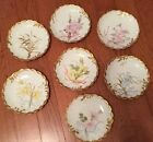 SET OF 7 1890'S  LIMOGES M.R. PLATES EACH HAND PAINTED WITH DIFFERENT FLOWERS NR
