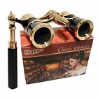 HQRP Black Gold Opera Glasses Binoculars 3x25 Optics Coated Lens with Handle