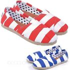 SALE Unisex Trainers Stripes Loafers Womens Canvas Shoes Summer Flats Size 10-4