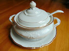 Poland Walbrzych White & Gold Trim Covered Soup Tureen & Ladel with Platter