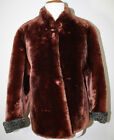 Vintage Faux Sheared Beaver Fur Real Curly Lamb Jacket S Coat Brown Gray