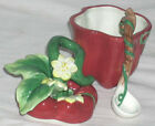 Fitz & Floyd Condiment Jar Lid Spoon Red Pepper Gardening Gourmet Porcelain New