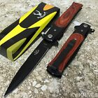 BONE EDGE Italian STYLE Stiletto Spring Assisted Open Tactical Pocket Knife WOOD