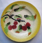 Old French Art Nouveau Majolica Plate: Cherries, signed ORCHIES