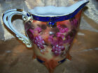Large Antique Handpainted Pitcher with Grapes & Flowers Limoges China Replica