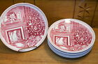8 Red Transfer Christmas Eve Plates - Josiah Wedgwood & Sons for Williams Sonoma