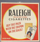 OLD ORIGINAL 1939 40 RALEIGH CIGARETTES PAPER SIGN  UNUSED  12 SQ FREE SHIP