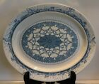 Antique Royal Crown Derby Blue & White Pottery Oval Platter Tazza  Leopold  NR