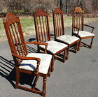 Set 4 Oak Pressed Back Dining Chairs 2 Arms & 2 Sides Burlington House Furniture