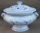HB Quimper Blue White Flowered Lidded Soup Tureen Vegetable Dish French 1970