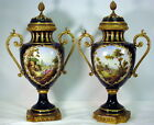 Antique pair French Sevres Porcelain & Bronze Urn Hand painted and signed