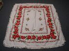 VINTAGE WHITE COTTON CHRISTMAS TABLECLOTH w RED POINSETTIA  FRINGE EDGE 46x64