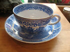 ANTIQUE NEW WHARF  TEA CUP AND SAUCER  BURSLEM ENGLAND  BLUE & WHITE EXCELLENT