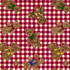 BOYD'S BEARS~SPX FABRIC~70 IN~EOB~END BOLT~TOSSED TEDDY BEARS ON RED CHECK~24318