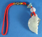 Jade Good Luck Prosperity Fish Charm Feng Shui Hanging 'Abundance Wealth' 6-1/2