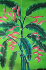 Tropical heliconia flower quilt Hand Painted Bali Batik  Art King/queen 105