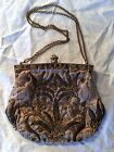 Vintage 1920s Floral Hand Made Purse Hand Bag with Pearl Accent Metal Frame