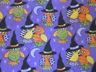 NEW 3 yards of Halloween fabric purple glitter owl in witch hat 2014 Patty Reed