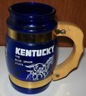 VINTAGE SOUVENIR KENTUCKY BLUE GRASS - COBALT GLASS MUG WITH WOOD HANDLE -