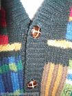 VTG BARNEY'S IDEAS BY BOB & CHRIS Men's Wool Cardigan Suede Elbow Sweater M