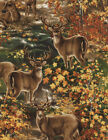 DEER IN WOODS WILDLIFE BUCK DOE NATURE OUTDOOR #3163 COTTON QUILT BTY TT FABRIC