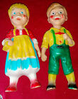 Vintage GERMAN BOY - GIRL Rubber SQUEAK TOY SET Squeaker Toys STAHLWOOD Rempel?