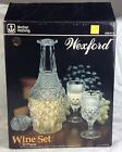 vintage ANCHOR HOCKING USA glass wine set -8 goblets & decanter WEXFORD in BOX