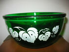 Vintage SMALL Forest Green Glass Kitchen Mixing Bowl w White Ivy
