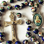 BLUE CLOISONNE ROSE BEADS ROSARY & ITALY RELIC CROSS CRUCIFIX CATHOLIC NECKLACE