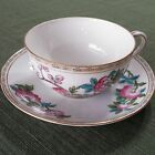 Noritake Nippon Hand Painted Cup & Saucer Gold Rim Flowers Pink Roses Vine BG026