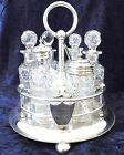 Antique Walker and Hall Silver Plated and Glass Table Cruet Set, Condiment Set!!