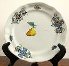 Decorative Handpainted Floral French Faience Plate Marked HC