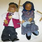 Vtg. (2) German Hand Made Carved Wood OLD MAN WOMEN Couple  MARIONETTES