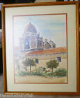 watercolors art signed original koscho vintage framed matted art mission