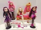 EVER AFTER HIGH LOT OF 4 DOLLS (APPLE, BRIAR, RAVEN, & CUPID) + FAINTING COUCH