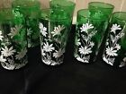 Forest Green White Daisy 8 Glasses Tumblers Glasses Anchor Hocking Vintage