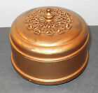 Antique Musical Powder Box  gold gilt Metal w Filigree design Dome Lid
