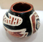 Handcrafted miniature pottery vase black & Brown signed VIC Mte??
