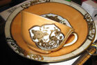 Noritake china crane bird japan cup & Plate Luster ware gold birds dishes