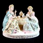 Two Women Ladies Having an Afternoon Tea Party Porcelain Figurine Figural Group