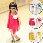 2PCS Baby Girls kids Children Corsage Little Vest Top +Pants Outfits Sets
