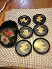 Vintage~Set of 6 Black Lacquer Japanese Tea Coasters~Matching Round Box