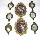 Set of 8 Ornate Oval Picture Frames Metal Convex Glass Small Frames Italy